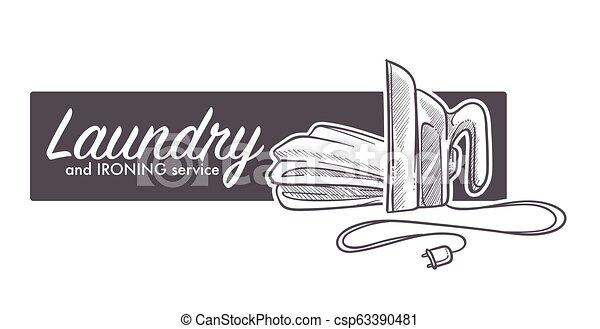 Lavandería y logotipo de servicio de planchado, boceto de estandarte con aplicaciones de hierro - csp63390481