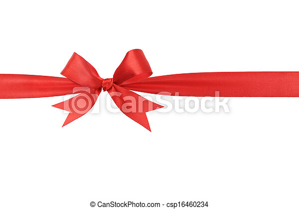Lazo rojo hecho a mano, la frontera horizontal - csp16460234