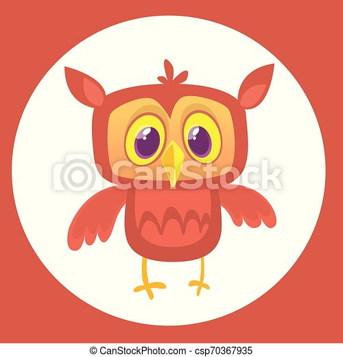 Lechuza cómica con ojos grandes. Ilustración de vectores - csp70367935