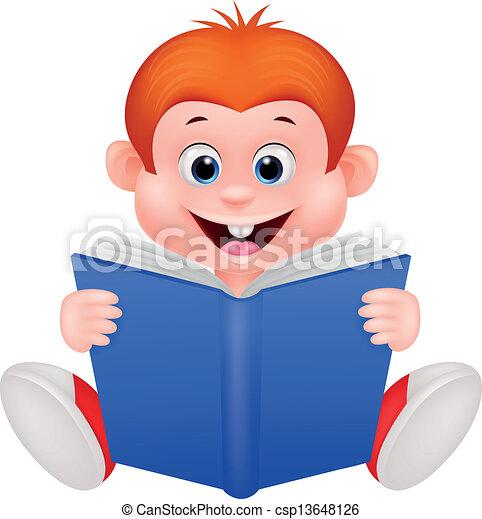 El chico del Cartón leyendo un libro - csp13648126