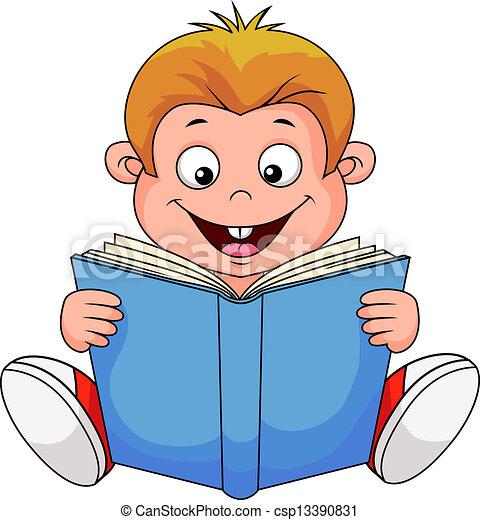 El chico de los dibujos leyendo un libro - csp13390831