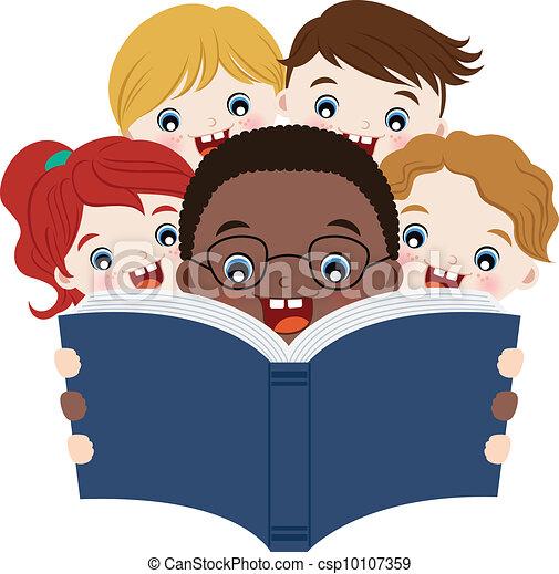 Los niños leen libros - csp10107359