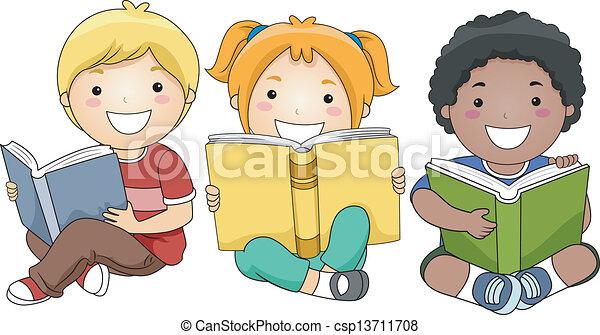 Niños leyendo libros - csp13711708