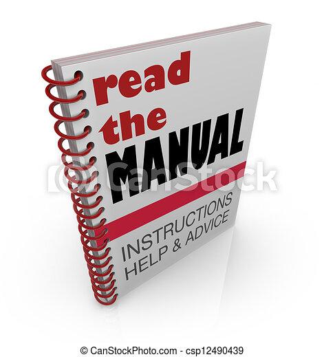 Lee las instrucciones manuales y ayuda al consejo - csp12490439