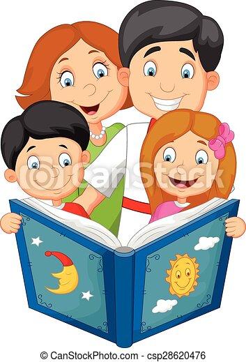 La familia Cartoon leyó un cuento para dormir - csp28620476