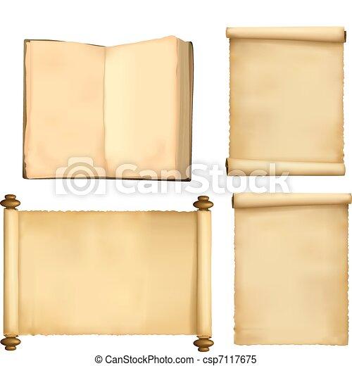 Un juego de hojas de papel y un libro - csp7117675