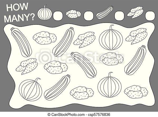 Libro de color y juego de matemáticas cuántos vegetales. Educación. Actividad de lectura. Ilustración de vectores. - csp57576836
