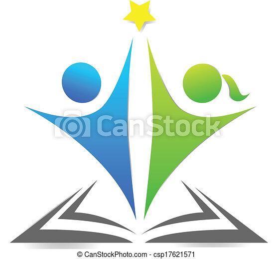 Libro y niños logotipo gráfico - csp17621571