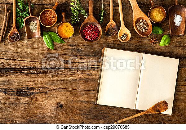 Libros de cocina en blanco y especias - csp29070683