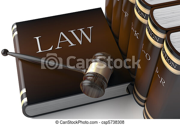Hay un montón de libros de leyes de cuero - csp5738308