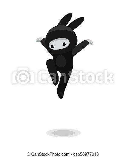 Saltando ninja conejito lindo aislado en fondo blanco - csp58977018