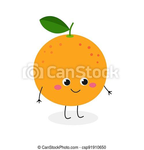 lindo, carácter, caricatura, vector, toronja, ilustración, alegre - csp91910650