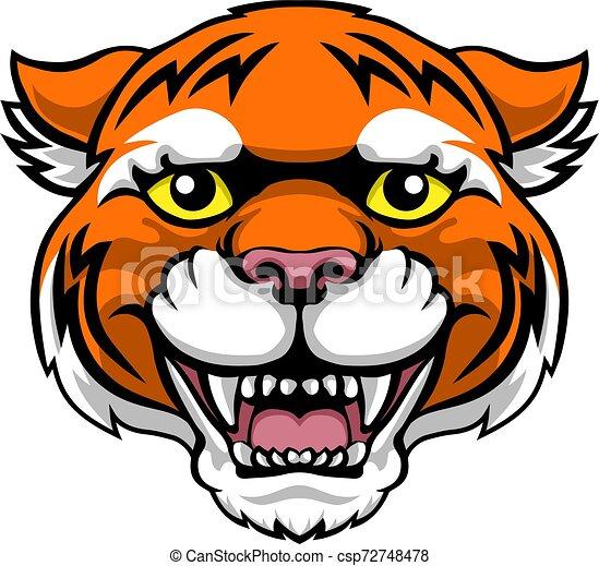 La mascota tigresa lindo personaje de dibujos animados - csp72748478