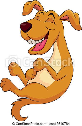 Linda caricatura de perros riendo - csp13610784