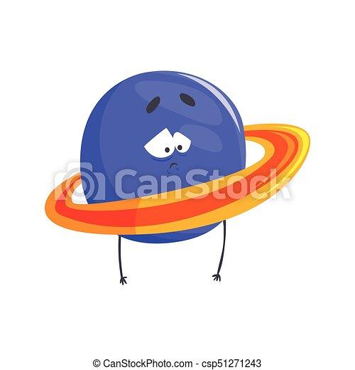 Un lindo personaje humanoide del planeta Urano, una esfera con un gracioso vector de dibujos animados de ilustración - csp51271243