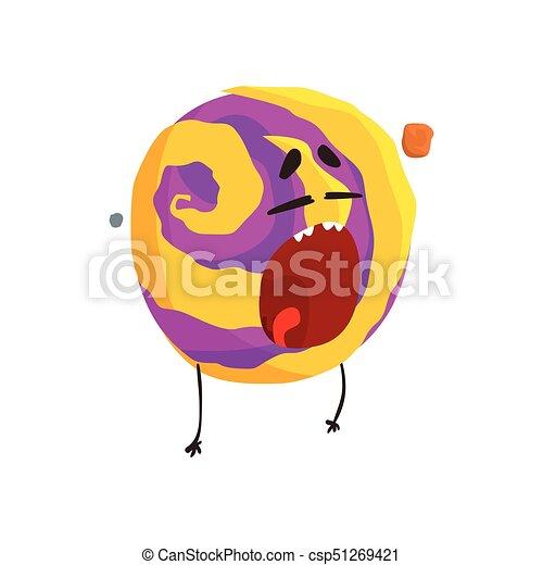 Un lindo personaje humano de Venus, una esfera con cara graciosa vector de ilustración vectorial - csp51269421