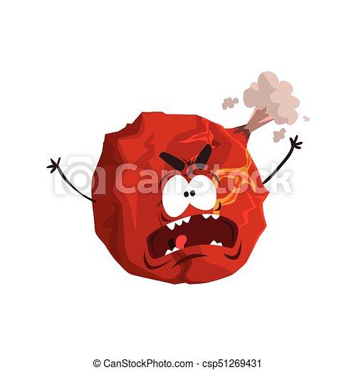 Un lindo personaje de planeta Marte, una esfera roja con una divertida caricatura vector de ilustración - csp51269431