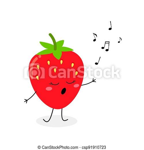 lindo, fresa, caricatura, vector, ilustración, carácter, canto - csp91910723