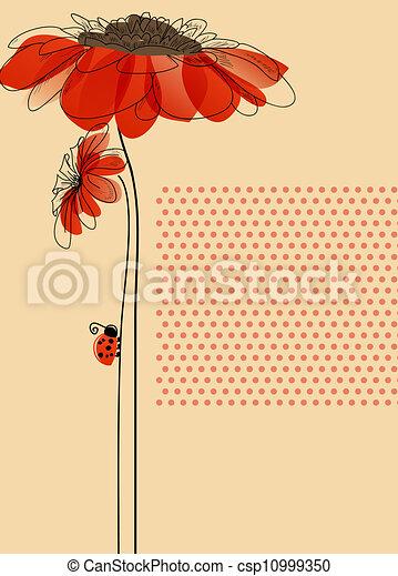 Una tarjeta de vector elegante con flores y una linda mariquita - csp10999350