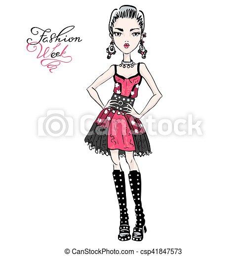 Vector linda chica de moda - csp41847573