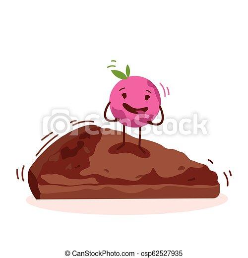 Lindo personaje de dibujos animados de pastel aislado en el logo de vector blanco de fondo - csp62527935