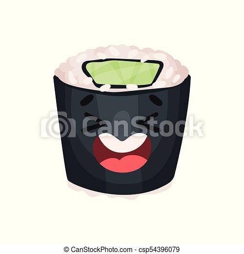 Lindo personaje de sushi riéndose, rodar con gracioso vector de dibujo animado Illustración - csp54396079