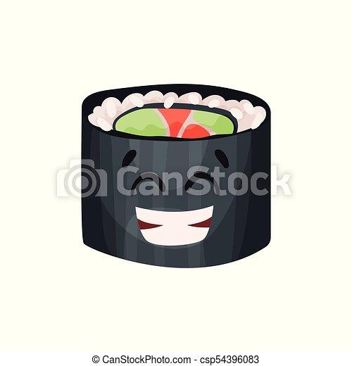 Lindo personaje feliz, sushi con divertida caricatura vector de ilustración - csp54396083