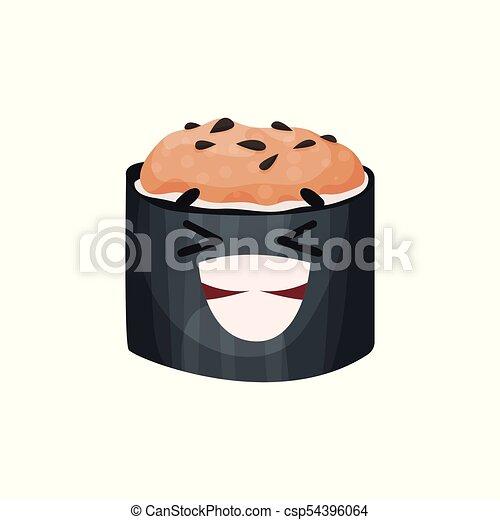 Lindo personaje sonriente de sushi, rodar con gracioso vector de dibujo animado Illustración - csp54396064