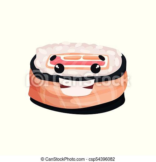 Lindo personaje sonriente de sushi, rodar con gracioso vector de dibujo animado Illustración - csp54396082