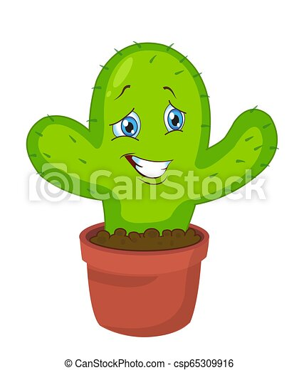 Lindo. Un personaje gracioso de cactus. Ilustración de vectores - csp65309916