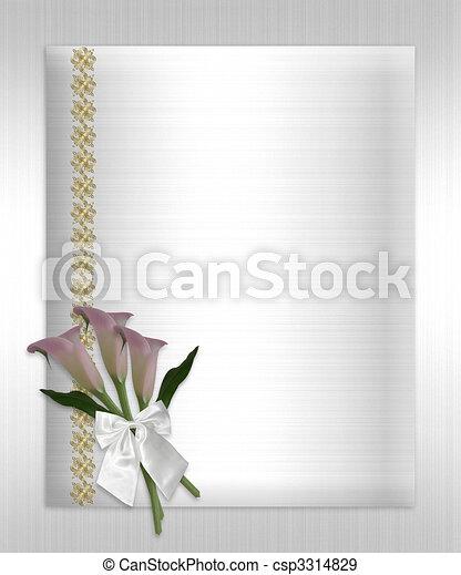 La invitación de bodas llama a los lirios satén blanco - csp3314829