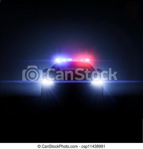 Un coche de policía con un conjunto completo de luces. Ilustración del vector - csp11438991