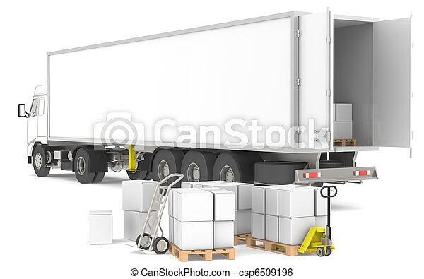 Distribución. Abrir remolque con paletas, cajas y camiones. Parte de una serie de Blue y Yellow Almacenes y logística. - csp6509196