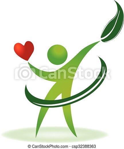 Logotipo de cuidado cardíaco natural - csp32388363