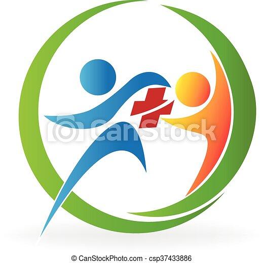 Logotipo de salud de trabajo en equipo - csp37433886