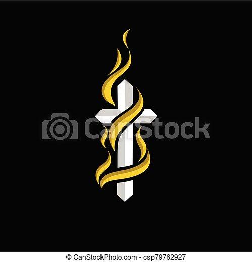 logotipo, fe, fuego, diseño - csp79762927