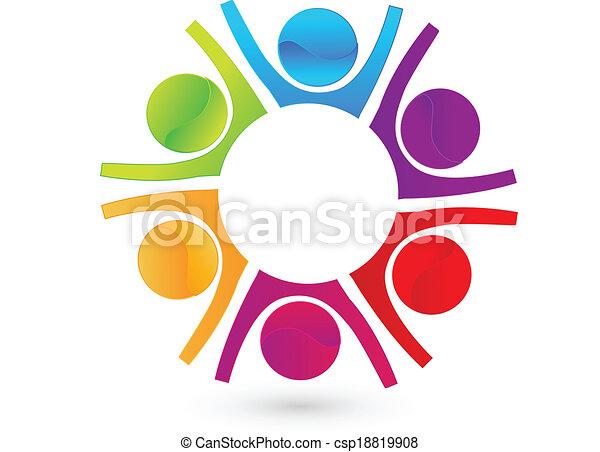 Trabajo en equipo de la gente de negocios feliz logo - csp18819908