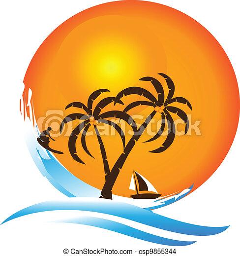 El logotipo del paraíso tropical - csp9855344