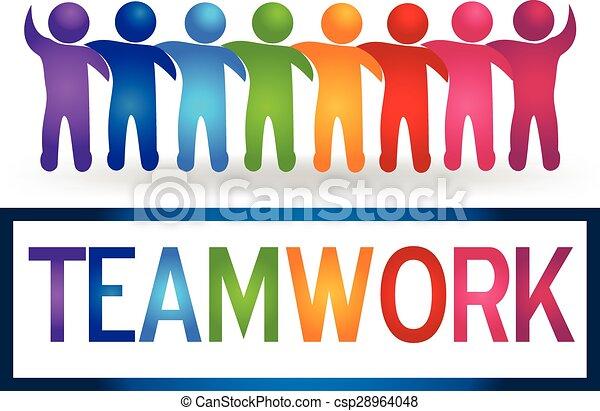 Trabajo en equipo de Logo abrazando a la gente - csp28964048