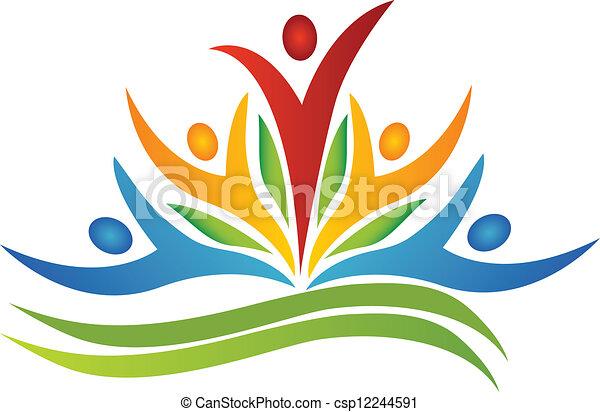Flor de trabajo en equipo con logotipo de hojas - csp12244591