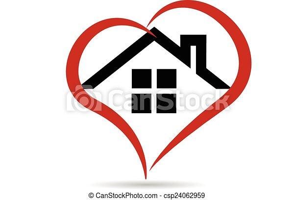 Logotipo de vector de casa y corazón - csp24062959