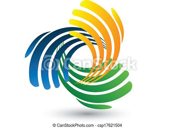 Las manos conectan el logotipo vectorial - csp17621504