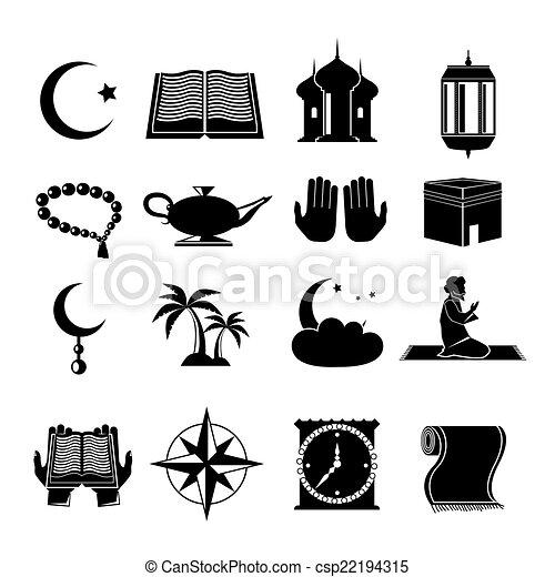 Los íconos del Islam se pusieron negros - csp22194315