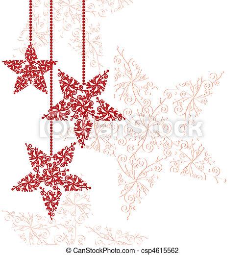 Los adornos de las estrellas rojas de Navidad - csp4615562