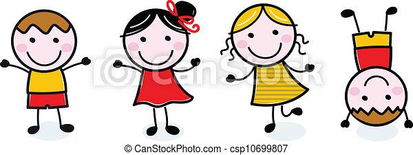 Los chicos felices de Doodle se aislan en blanco - csp10699807
