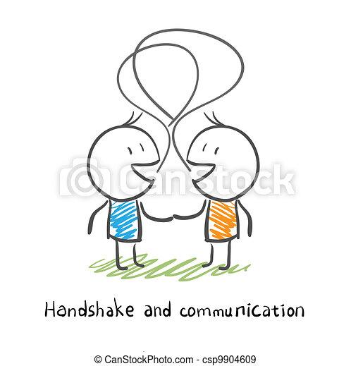 Los dos hombres dan la mano y socializan. Ilustración. - csp9904609