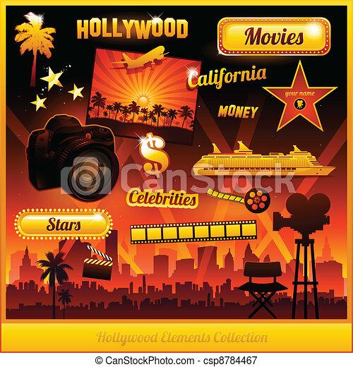 Los elementos del cine de Hollywood - csp8784467