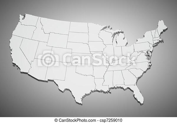Los Estados Unidos hacen un mapa de gris - csp7259010