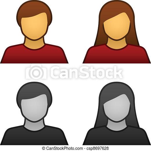 Los iconos del avatar femenino del vector masculino - csp8697628