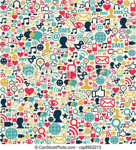 Los símbolos de la red de medios sociales - csp8952213